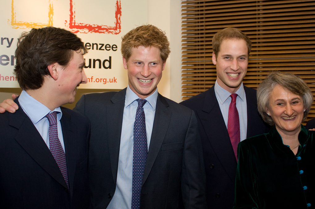 The Duke of Cambridge and Prince Harry with Claire and Charlie van Straubenzee