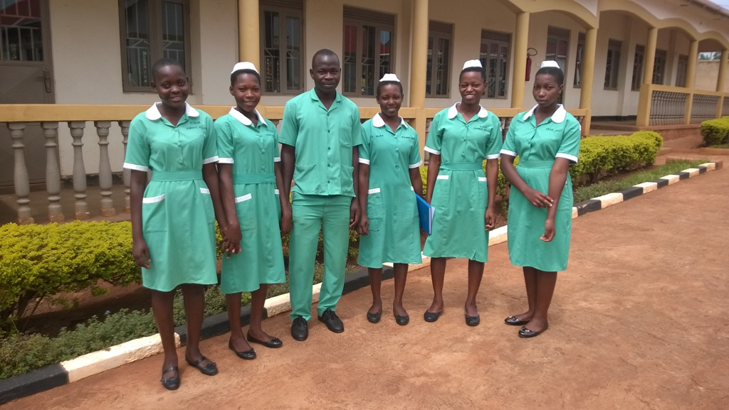 Students at St Eliza School of Nursing and Midwifery. Girls are all on mid-wifery course, boy on nursing course.