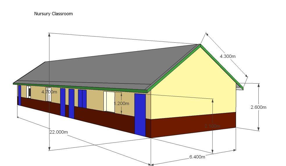 Nursery School Classrooms- 3D - roof - Oct 2012