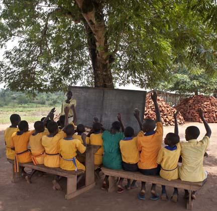 most children sat under a tree to learn