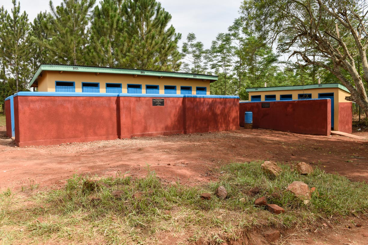 8 x new boys' latrines and the renovated 5 boys' latrines