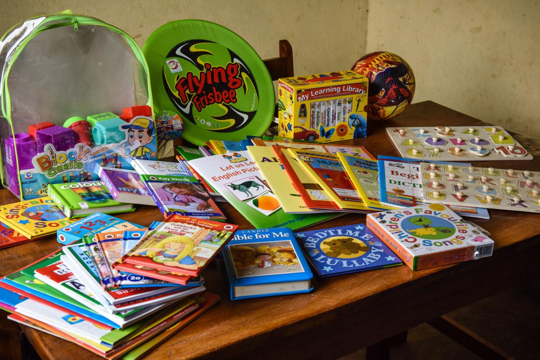 textbooks, teaching aids and balls